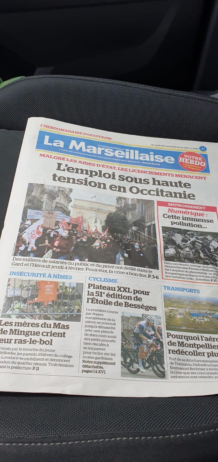 Article dans le journal régional La Marseillaise