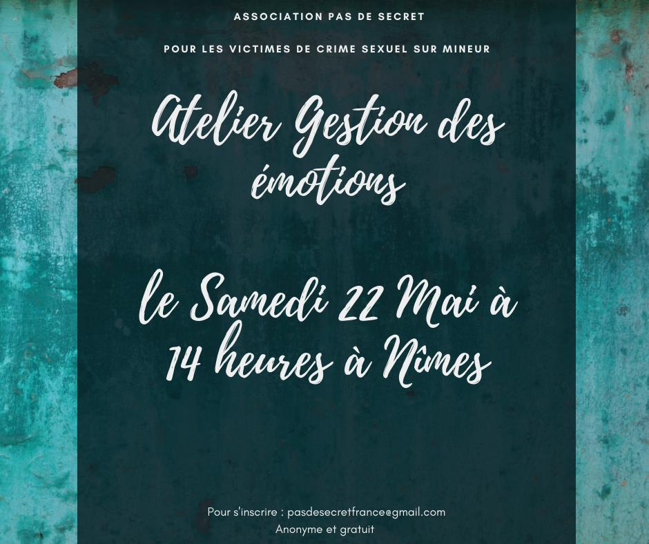 Atelier Gestion des émotions Le Samedi 22 Mai à 14h